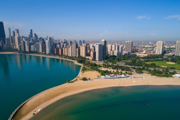 Aerial image north Avenue Beach Chicago